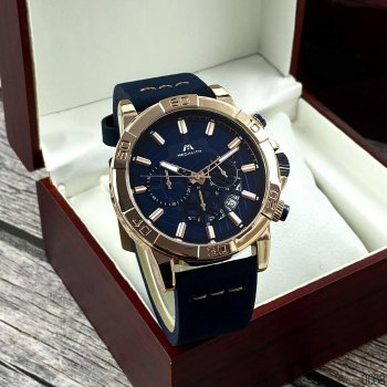 Мужские кварцевые часы Megalith Blue наручные классические на кожаном ремешке + коробка (1088-0068)