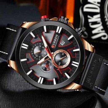 Мужские кварцевые часы Curren Black наручные классические на кожаном ремешке + коробка (1008-0251)