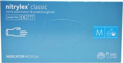 Перчатки нитриловые смотровые Nitrylex Classic нестерильные неопудренные размер M 100 пар Синие (52-110)