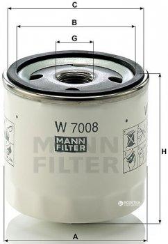 Фильтр масляный MANN W 7008 - W 712/81 - W 712/37
