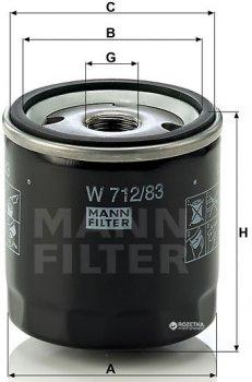 Фильтр масляный MANN W 712/83 - W 711/80