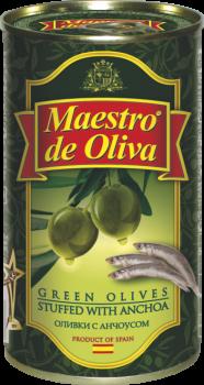 Оливки зеленые с анчоусом Maestro de Oliva 350 г (8436024290134)