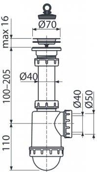 Сифон для кухонной мойки ALCA PLAST A441 (8594045937503)