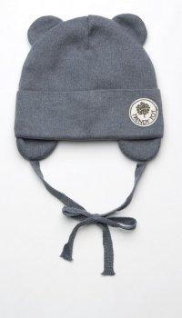 Демисезонная шапка с завязками Модный карапуз 03-01048-8 46-48 см Темно-серая (4824664310482)