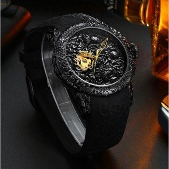 Мужские механичиские часы Megalith Black наручные классические на силиконовом ремешке + коробка (1088-0032)