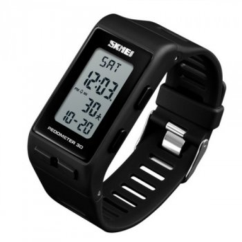 Мужские электронные часы Skmei Black наручные спортивные на силиконовом ремешке + коробка (1080-0123)