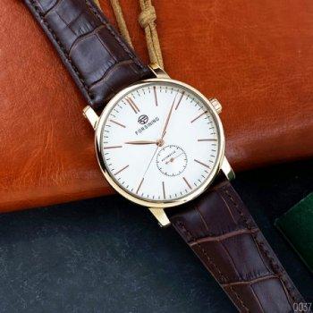 Мужские механичиские часы Forsining Gold наручные классические на кожаном ремешке + коробка (1059-0037)