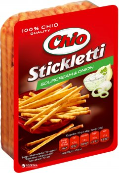 Соломка Chio Stickletti соленая со вкусом сметаны и лука 80 г (5997312762465)