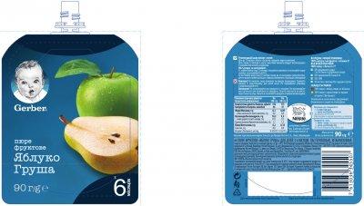 Фруктове пюре Gerber Яблуко та груша з 6 місяців 90 г (7613036345507)