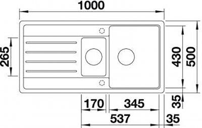 Кухонна мийка BLANCO LEGRA 6S (522207) Антрацит + зливний гарнітур (231007)