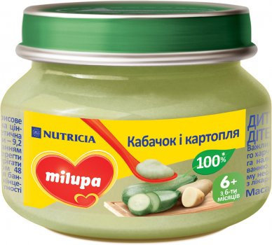 Овочеве пюре Milupa Кабачок і картопля з 6 місяців 80 г (5900852030222)