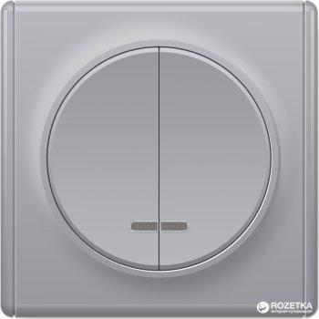 2-клавишный выключатель с подсветкой OneKeyElectro Florence Серый (1Е31801302)
