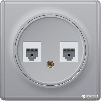 Компьютерная розетка двойная OneKeyElectro Florence 2xRJ45 5e Серая (1Е20901302)