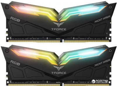 Оперативная память Team T-Force NightHawk DDR4-3200 16384MB PC-25600 (Kit of 2x8192) Black HS RGB LED (TF1D416G3200HC16CDC01)