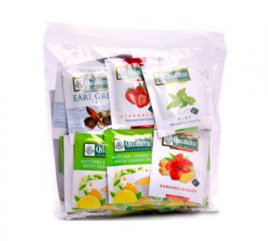 Упаковка чая черный и зеленый Qualitea Фруктовое ассорти цейлонский 6 пачек по 50 пакетиков