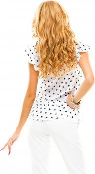 Блузка ELFBERG 047 Белая с темно-синими сердечками