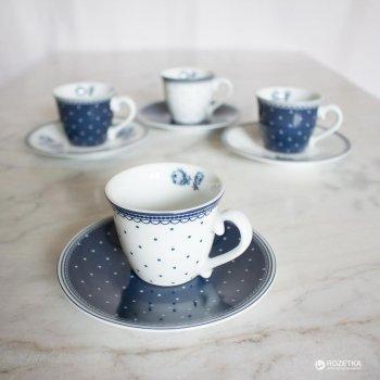Набор чашек для эспрессо с блюдцами Katie Alice Vintage Indigo 80 мл х 4 шт (KA5176115)