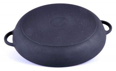 Чавунна сковорода гриль кругла з двома литими ручками 20 см Сітон