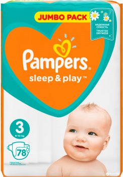 Підгузки Pampers Sleep&Play Розмір 3 (Midi) 6-10 кг, 78 шт. (8001090669094)