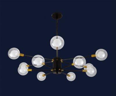 Люстра Лофт Молекула 12 Плафонів 120Вт Levistella 7526078-12 Bk Чорний