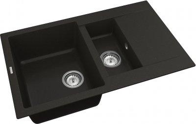 Кухонная мойка VANKOR Orman OMP 04.80 Black + сифон двойной VANKOR Стандарт