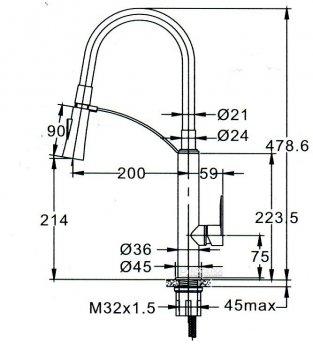 Кухонний змішувач TOPAZ BARTS-TB-8817-H18