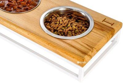Підставка на три миски для собак і кішок Harley and Cho Lunch Bar S 0.45 л 7 см Натуральна з білим (3300090)