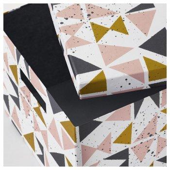 Коробка з кришкою IKEA TJENA 25x35x20 см білий чорний рожевий 403.982.15