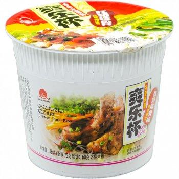 Рисова вермішель швидкого приготування зі смаком смажених реберець в склянці Hezhong 75г