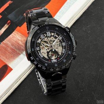 Мужские механичиские часы Winner Black наручные классические на стальном браслете + коробка (1099-0009)