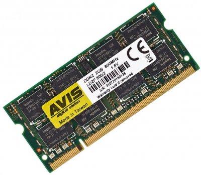 Оперативна пам'ять для ноутбука DDR2-800 SODIMM 2Gb PC2-6400 AVIS LD2F800/2-So 2048MB (770008512)