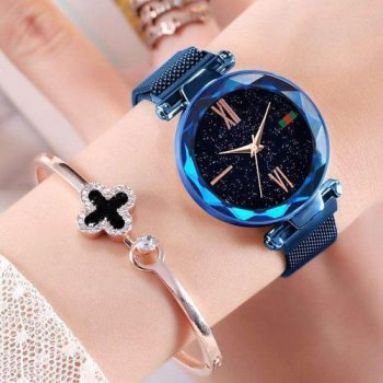 Часы наручные Starry Sky Watch женские на магнитной застёжке синие PPU-189660