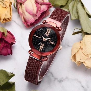 Часы наручные Starry Sky женские с сетчатым браслетом и магнитной застежкой красные PPU-189658