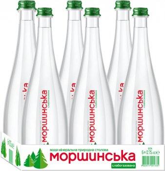 Упаковка минеральной природной слабогазированной воды Моршинська Преміум 0.75 л x 6 бутылок (4820017001311)