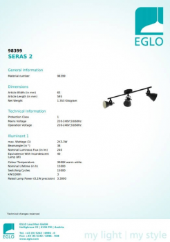 Стельовий світильник Eglo SERAS 2 98399