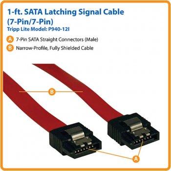 Кабель Tripp Lite Power SATA Latching Signal Cable 7Pin - 7Pin 0.3 м (P940-12I)