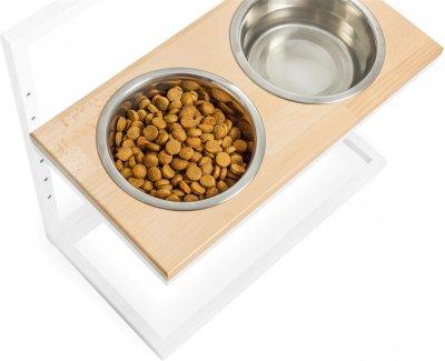 Підставка на дві миски для собак Harley and Cho Lift M 0.75 л 30 см Натуральна з білим (3300166)
