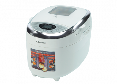Хлібопічка 2 тістоміса антипригарне покриття Liberton LBM-8211 12 програм приготування 1150 гр 3 кольору скоринки Біла з сріблястим буханець