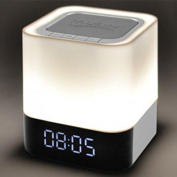 Портативная Bluetooth-колонка 28. PowerBank. светильник (сенсорный). часы. будильник