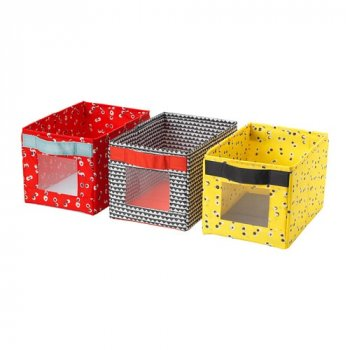 Набір різнокольорових ящиків для зберігання IKEA ANGELÄGEN 18x27x17 см 3 шт різнокольорові 504.179.49