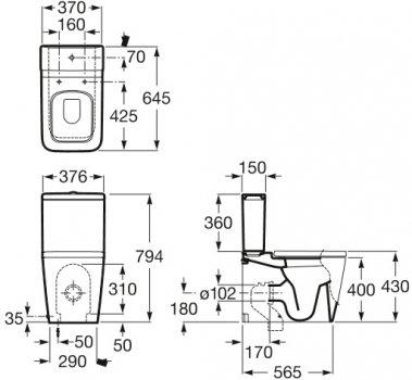 Унітаз-компакт ROCA Inspira Square A342537000 без бачка та сидіння