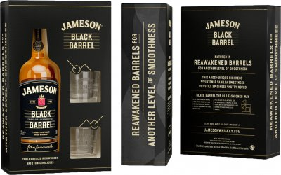 Віскі Jameson Black Barrel 0.7 л 40% + 2 келихи в коробці (5011007024345)