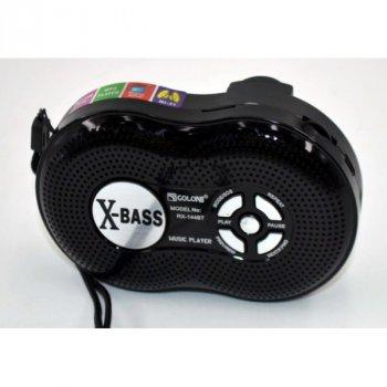 Акустична система Golon всехвильовий акумуляторний радіоприймач радіо колонка з Bluetooth і USB функція Power Bank Чорний (RX-144BT)