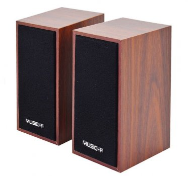 Колонки для ПК и ноутбука компактные и мощные Music-F D-09 Brown
