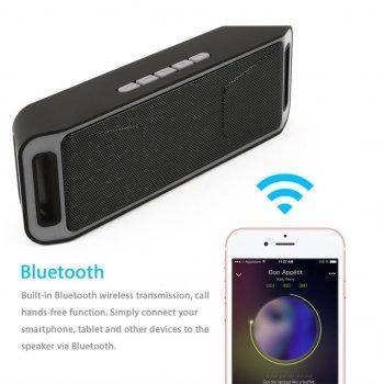 Акустична система UKC портативна колонка Megabass A2DP Stereo Bluetooth USB FM 20см Сіро-чорна (SC-208-1)