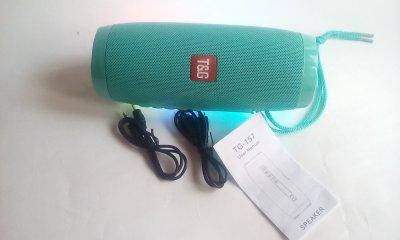 Портативна акустична колонка T&G з LED-підсвічуванням і ремінцем для перенесення Bluetooth 10Вт Бірюзова (TG157stereo-05)
