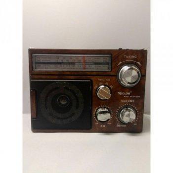 Акустична система Golon радіо FM радіоприймач колонка з USB виходом і ліхтариком Коричневий (RX-552D)