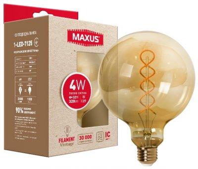 Світлодіодна лампа MAXUS G125 FM 4W 2200K 220V E27 Vintage (1-LED-7125)