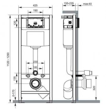 Система инсталляционная HIGH-TECH без кнопки Cersanit (000009091)