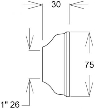 Чашка GHIDINI DN26 х 75 / 30 мм латунь хром (836)